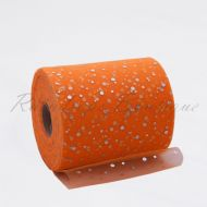 Bright Orange Sequin Tulle Roll